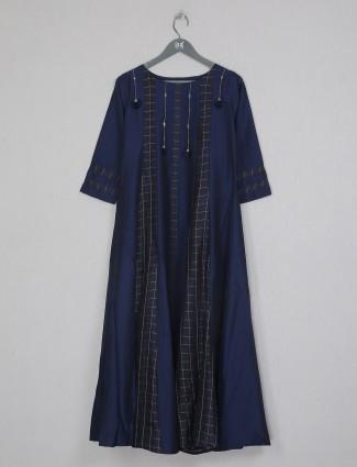 Navy cotton printed casual wear Kurti