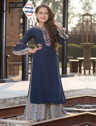 Navy cotton printed palazzo suit in festive
