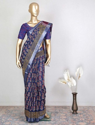 Navy cotton saree for festive events