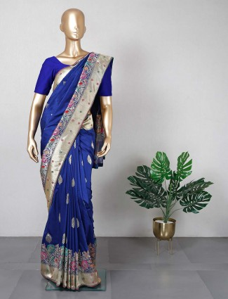 Navy cotton silk saree for women