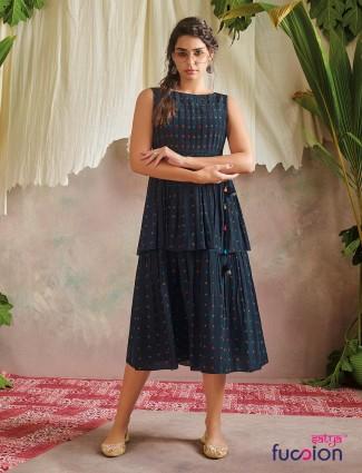 Navy designer printed cotton kurti for casual wear