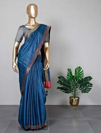 Navy festive saree in cotton silk