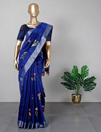 Navy festive wear cotton silk saree