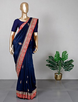 Navy festive wear saree in silk