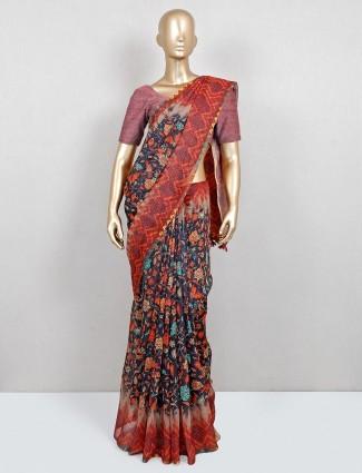 Navy floral print festive wear saree in cotton