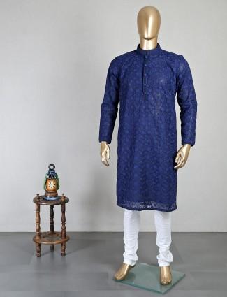 Navy georgette kurta suit for mens