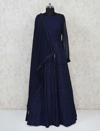 Navy georgette party wear floor length gown