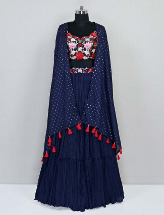 Navy georgette wedding wear designer lehenga choli