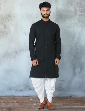 Navy hue cotton dhoti with kurta in cotton