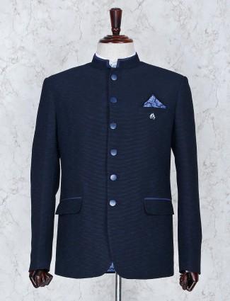 Navy hue thread weaving party jodhpuri blazer
