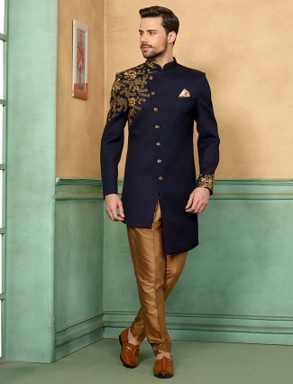 Navy hued solid terry rayon fabric indo western