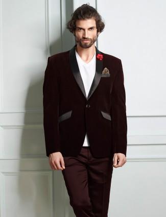 Wine maroon designer velvet solid blazer