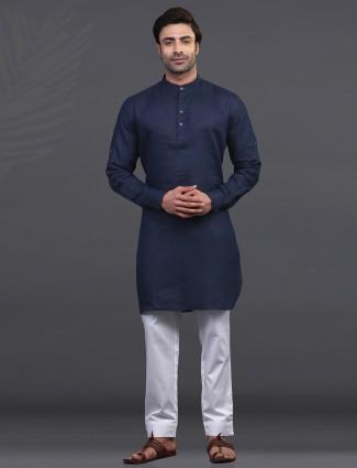 Navy linen kurta pajama festive wear