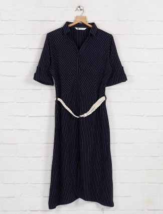 Navy long top in cotton with stripe