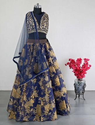 Navy net designer wedding wear lehenga choli