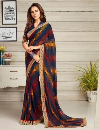 Navy printed georgette saree for festive wear