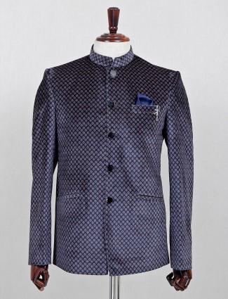 Navy printed jodhpuri blazer in velvet