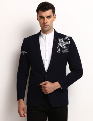 Navy printed one buttoned placket blazer