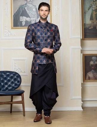 Navy printed pattern silk dhoti style indo western