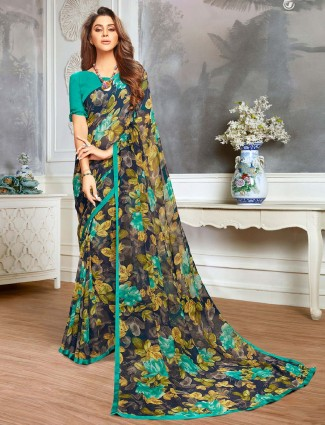 Navy printed saree in georgettte for festive occasions