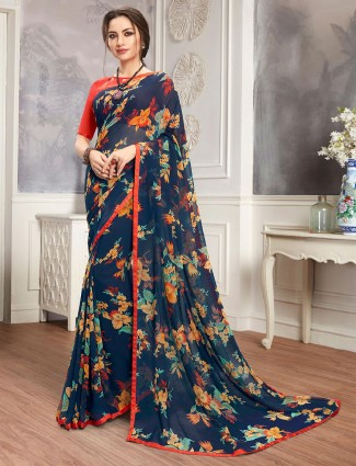 Navy printed saree in georgettte for women