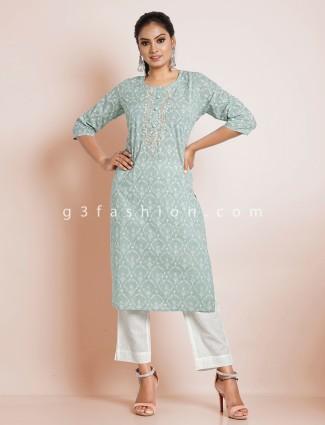 Teal green punjabi style cotton printed festive wear pant suit
