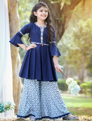 Navy punjabi style palazzo suit in cotton for girls