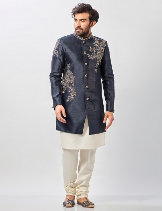 Navy raw silk designer party indo western