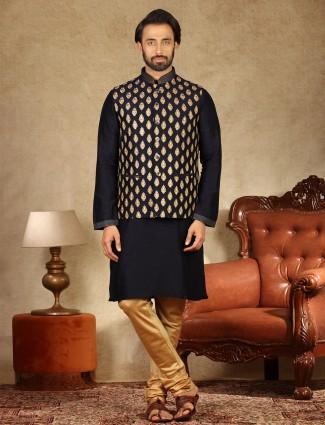 Navy raw silk festive wear waistcoat set for men