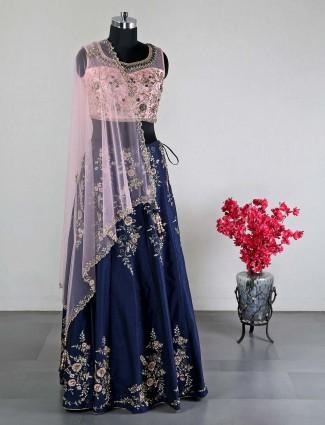 Navy raw silk wedding lehenga choli for women