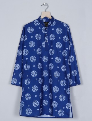 Navy shade printed style kurta suit in cotton