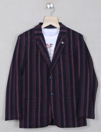 Navy shade striped style cotton blazer for boys