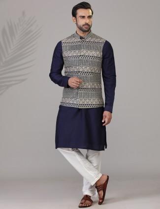 Navy silk embroidered mens waistcoat set
