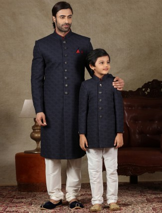 Navy silk fabric sherwani for father and son