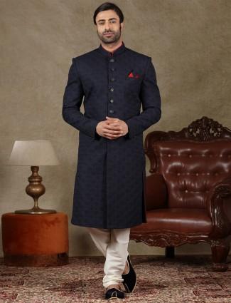 Navy silk fabric sherwani special for wedding