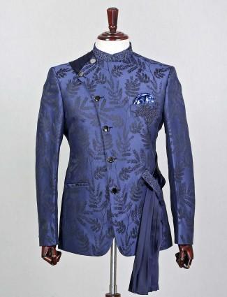 Navy silk party wear jodhpuri coat suit