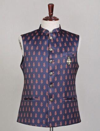 Navy silk printed waistcoat suit