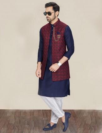 Navy silk waistcoat set for festive occasion