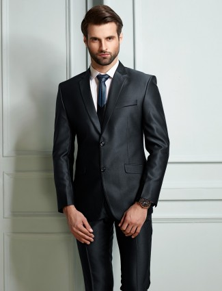 Navy solid party function coat suit