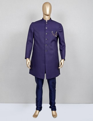 Navy solid terry rayon indo western for mens