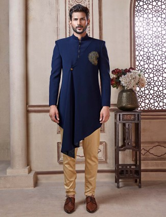 Navy solid terry rayon mens indo western