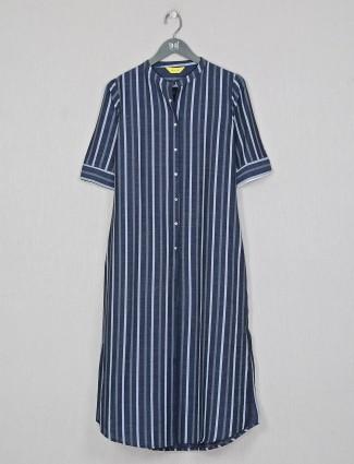 Grey special stripe cotton casual wear kurti