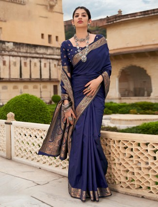 Navy spectacular saree in silk fabric