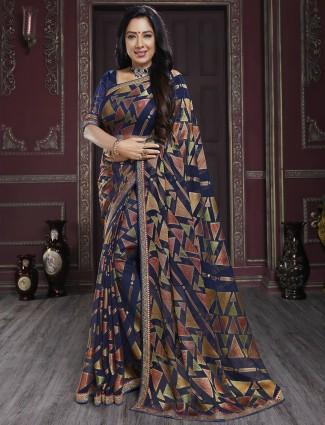 Navy stately georgette festive wear printed saree