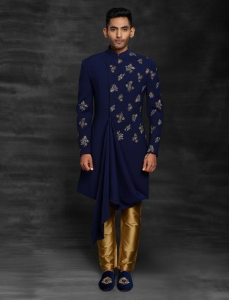 Navy  tary rayon indo western for wedding