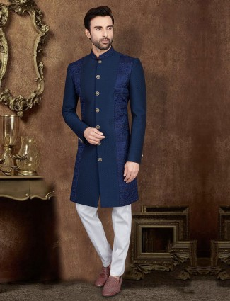 Navy terry rayon mens indo western for party