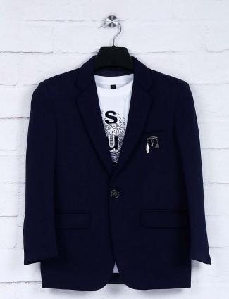 Navy terry rayon notch lapel collar blazer