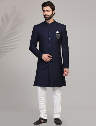 Navy terry rayon party wear mens indo western