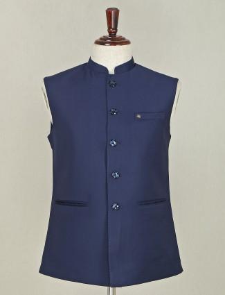Navy terry rayon party special waistcoat