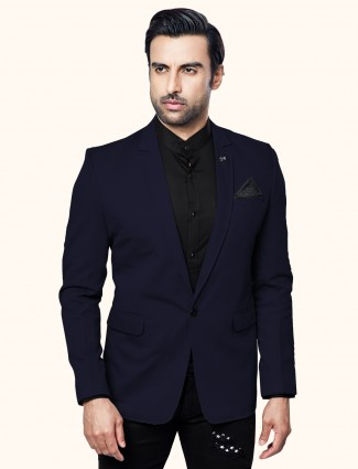 Navy terry rayon solid party wear blazer